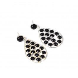 925 SOLID STERLING SILVER BLACK ONYX STUD PUSH EARRING -1.7 INCH