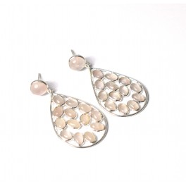 925 SOLID STERLING SILVER PINK ROSE QUARTZ STUD PUSH EARRING -1.7 INCH