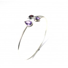 925 SOLID STERLING SILVER CUT PURPLE AMETHYST MIX STONE BANGLE