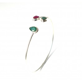 925 SOLID STERLING SILVER CUT GREEN EMERALD MIX STONE BANGLE