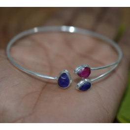 925 SOLID STERLING SILVER CUT BLUE SAPPHIRE MIX STONE BANGLE
