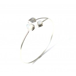 925 SOLID STERLING SILVER WHITE RAINBOW MOONSTONE BANGLE