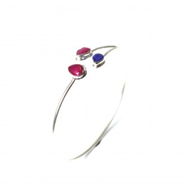 925 SOLID STERLING SILVER CUT RED RUBY MIX STONE BANGLE