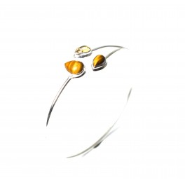 925 SOLID STERLING SILVER TIGER EYE MIX STONE BANGLE