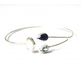 925 SOLID STERLING SILVER CUT BLUE SUNSTONE MIX STONE BANGLE