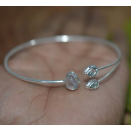 925 SOLID STERLING SILVER CUT BLUE TOPAZ MIX STONE BANGLE