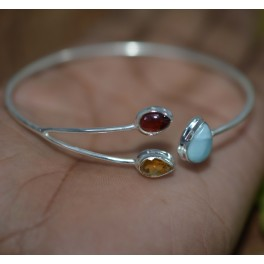 925 SOLID STERLING SILVER BLUE LARIMAR MIX STONE BANGLE