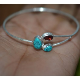925 SOLID STERLING SILVER BLUE TURQUOISE MIX STONE BANGLE