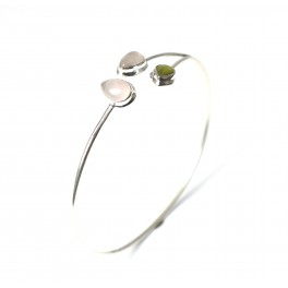925 SOLID STERLING SILVER PINK ROSE QUARTZ MIX STONE BANGLE