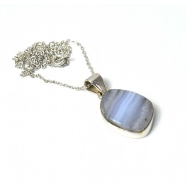 925 SOLID STERLING SILVER BLUE LACE AGATE CHAIN PENDANT-19.1 INCH