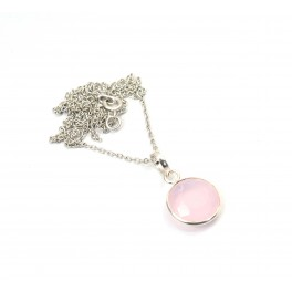 925 SOLID STERLING SILVER CUT PINK ROSE QUARTZ CHAIN PENDANT -18.7 INCH