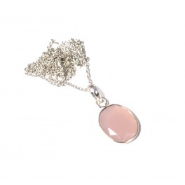 925 SOLID STERLING SILVER CUT PINK ROSE QUARTZ CHAIN PENDANT -19 INCH