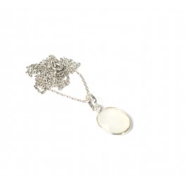925 SOLID STERLING SILVER CUT GRAY CHALCEDONY CHAIN PENDANT -18.7 INCH