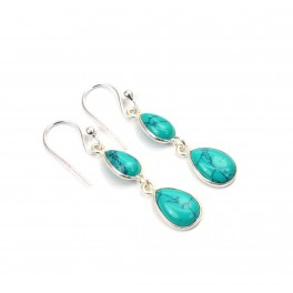 925 SOLID STERLING SILVER BLUE TURUOISE HOOK EARRING -1.3 INCH
