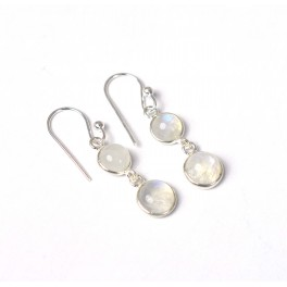 925 SOLID STERLING SILVER WHITE RAINBOW MOONSTONE HOOK EARRING -1.2 INCH