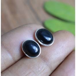 925 SOLID STERLING SILVER BLACK ONYX STUD EARRING