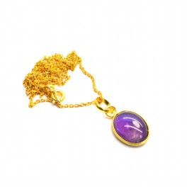 925 SOLID STERLING SILVER 24CT GOLD OVERLAY PURPLE AMETHYST CHAIN PENDANT