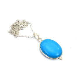 925 SOLID STERLING SILVER BLUE TURQUOISE CHAIN PENDANT -19.4 INCH