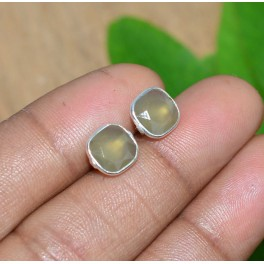 925 SOLID STERLING SILVER FACETED GRAY CHALCEDONY STUD EARRING -9X9 MM