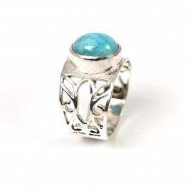 925 SOLID STERLING SILVER BLUE LARIMAR RING -6 US