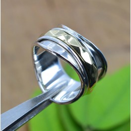 925 SOLID STERLING SILVER PLAIN TWO TONE RING -10 US