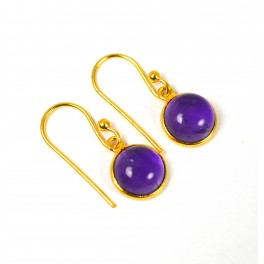 925 SOLID STERLING SILVER 24CT GOLD OVERLAY PURPLE AMETHYST HOOK EARRING