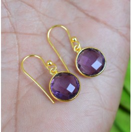 925 SOLID STERLING SILVER 24CT GOLD OVERLAY CUT PURPLE AMETHYST HOOK EARRING