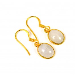 925 SOLID STERLING 24CT GOLD OVERLAY WHITE RAINBOW MOONSTONE HOOK EARRING