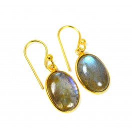 925 SOLID STERLING SILVER 24CT GOLD OVERLAY LABRADORITE HOOK EARRING