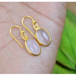 925 SOLID STERLING SILVER 24CT GOLD OVERLAY PINK ROSE QUARTZ HOOK EARRING