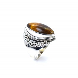 925 SOLID STERLING SILVER TIGER EYE RING -6 US