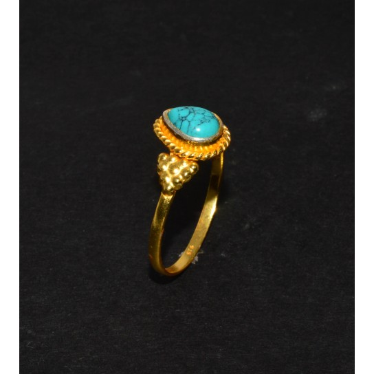 925 SOLID STERLING SILVER 24CT GOLD OVERLAY BLUE TURQUOISE RING -9 US
