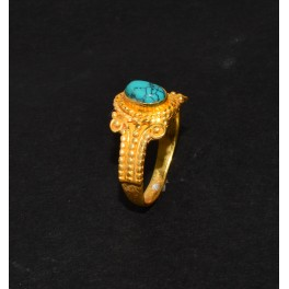 925 SOLID STERLING SILVER 24CT GOLD OVERLAY BLUE TURQUOISE RING -7.5 US
