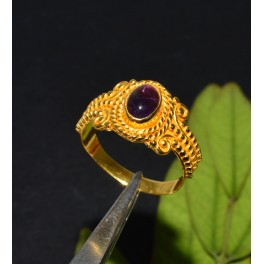 925 SOLID STERLING SILVER 24CT GOLD OVERLAY PURPLE AMETHYST RING -7 US