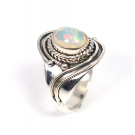 925 SOLID STERLING SILVER NATURAL ETHIOPIAN OPAL RING-6 TO 9 US